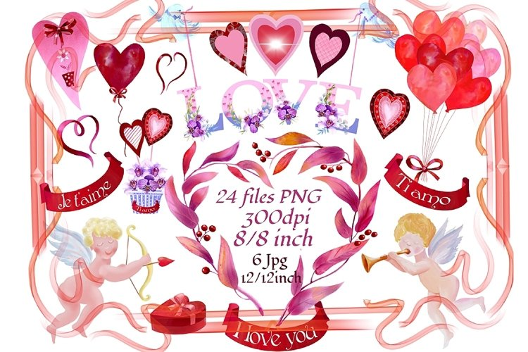 Valentine's watercolor clipart,digital papers example image 1