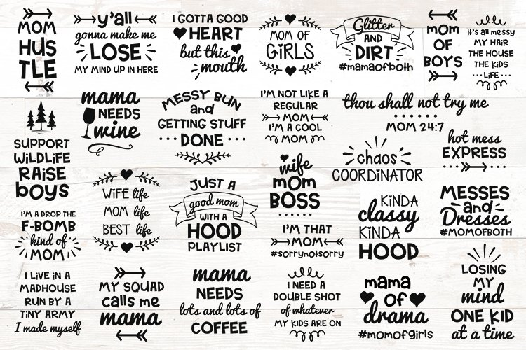 Huge Mom Bundle Funny Mom Sayings Quotes svg example image 1