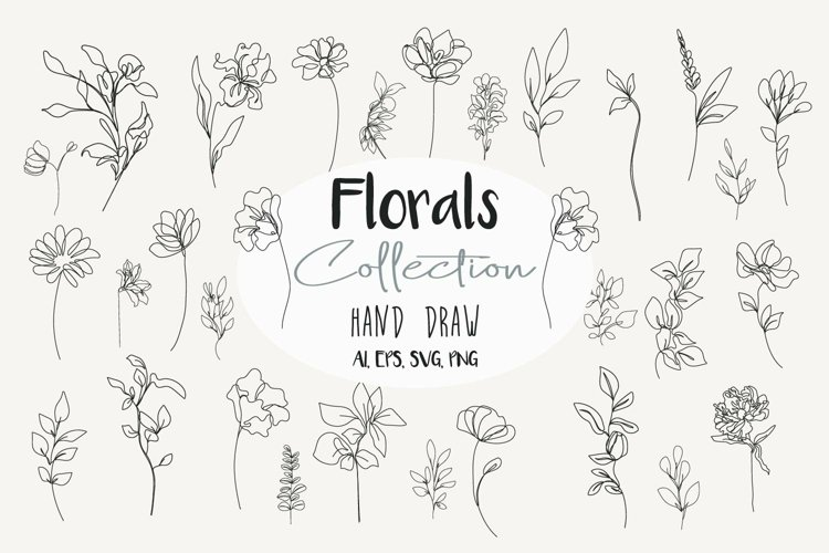 Florals Collection Hand Draw Line Art Drawing