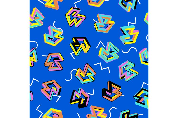 Vector Pattern 80s. Seamless Background. Retro Memphis example image 1