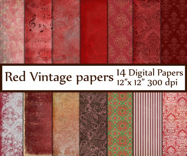 Red Digital Paper example image 1