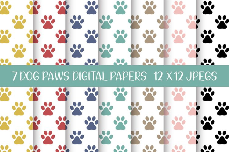 Dog Paws Digital Papers, Seamless Patterns