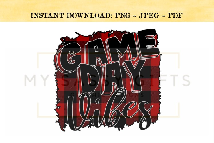 Game Day Vibes For Football Basketball Baseball Print PNG example image 1
