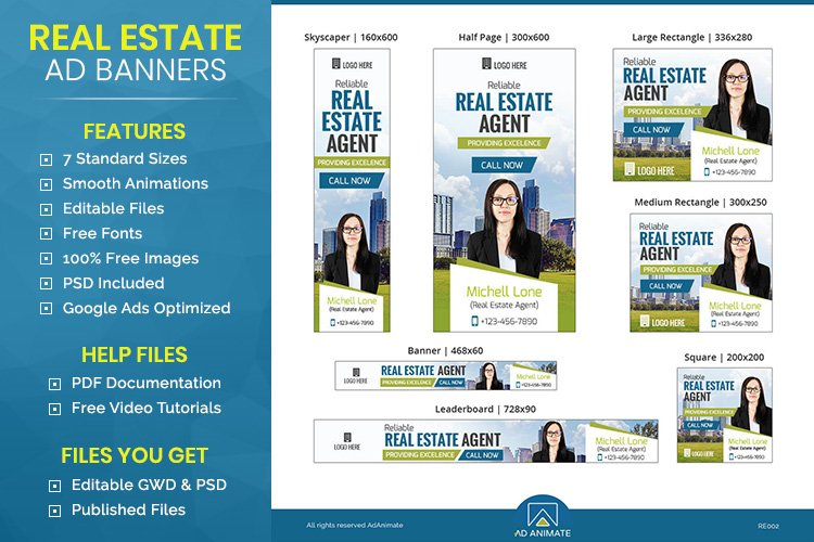 Real Estate Agent Animated Ad Banner Template - RE002 example image 1