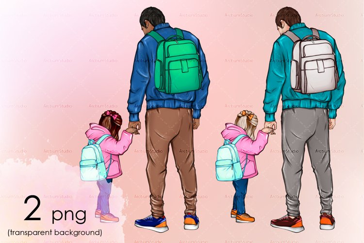Fathers day illustration back view art. Father and daughter