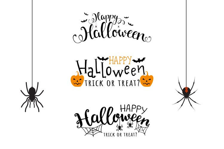 Collection of vector halloween lettering. example image 1