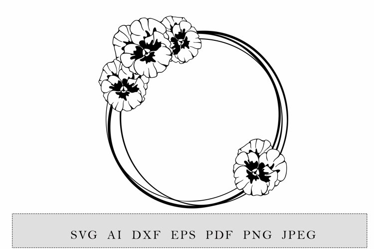 round frame with violet or pansies flowers example image 1