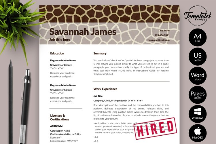 Animal Care Resume Template for Word & Pages Savannah James example image 1