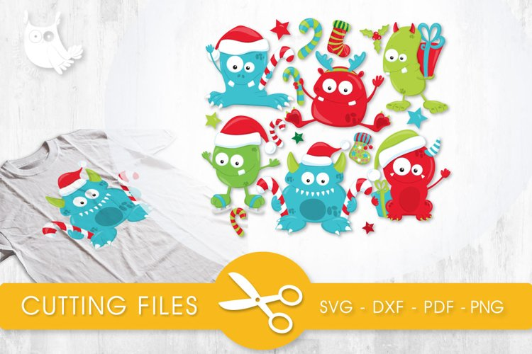 Christmas monsters cutting files svg, dxf, pdf, eps included - cut files for cricut and silhouette - Cutting Files SVG example image 1