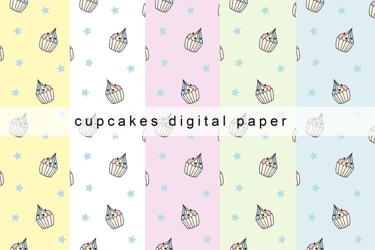 Cupcakes Digital Paper, Cupcakes Seamless Patterns