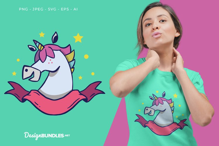 Unicorn with Ribbon Banner Vector Illustration For T-Shirt