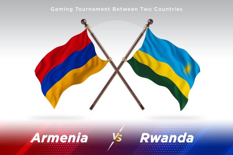 Armenia versus Rwanda Two Countries Flags Background Design example image 1
