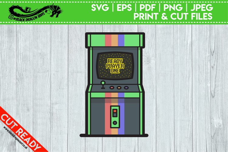 Games Arcade Cabinet Retro Sticker Printable Illustration
