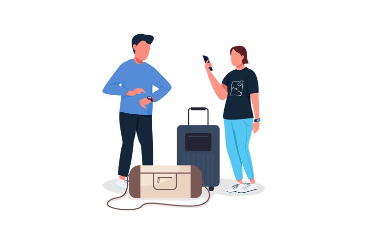 Couple waiting for flight flat color vector characters example image 1