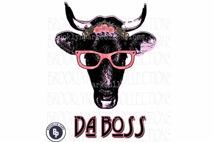 Da Boss, Cow, Heifer, glasses, Art, Print, Sublimation PNG example image 1