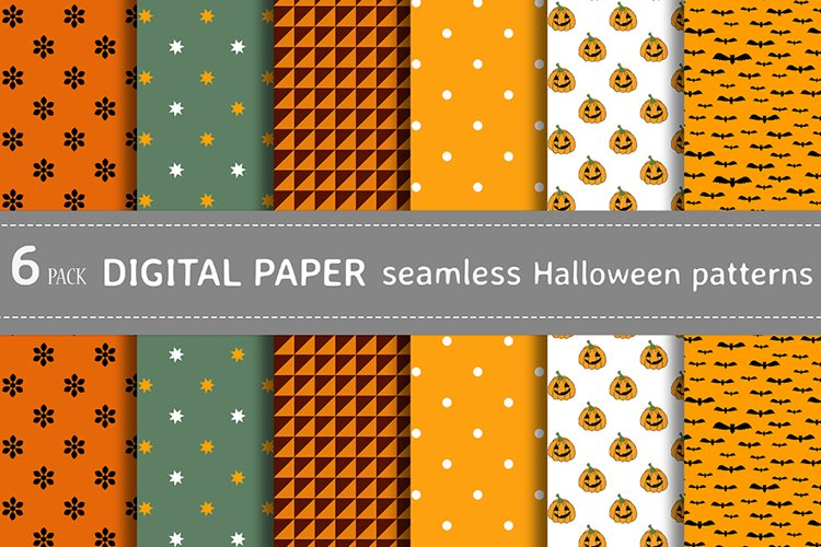 Bundle vector seamless Halloween patterns for crafts fabric example image 1