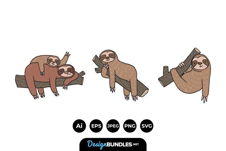 Cartoon Sloth Family Illustrations example image 1