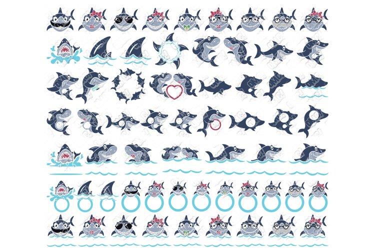 Shark SVG Bundle Monogram in SVG, DXF, PNG, EPS, JPEG