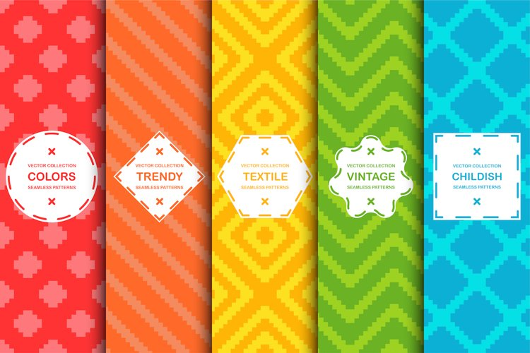 Vibrant seamless textile patterns example image 1