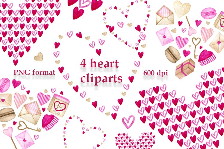 Valentines heart watercolor cliparts