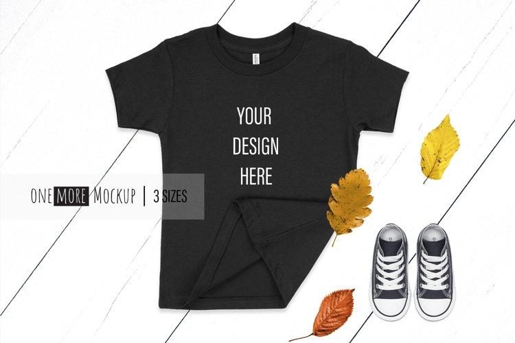 Kids Black T-Shirt Mockup I Bella Canvas 3001T Black I Fall example image 1