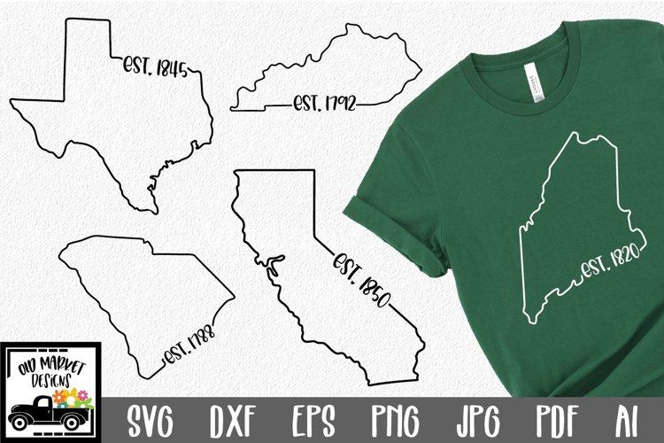 50 States SVG Bundle - Date Established State SVG Cut Files