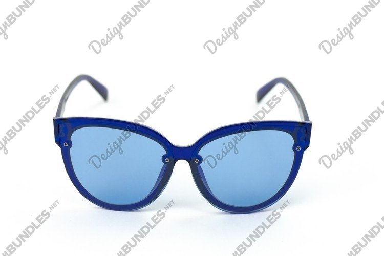 Vintage womens cat look sunglasses in blue plastic frame example image 1