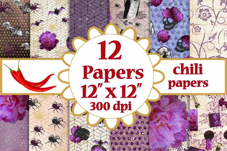 Halloween paper pack,Purple papers,Fall digital papers pack example image 1