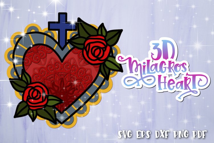 3D Heart svg Layered Milagros hearts 03 SVG