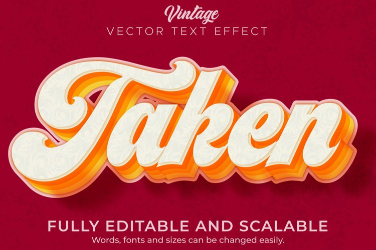Retro, vintage text effect, editable 70s and 80s text style. example image 1