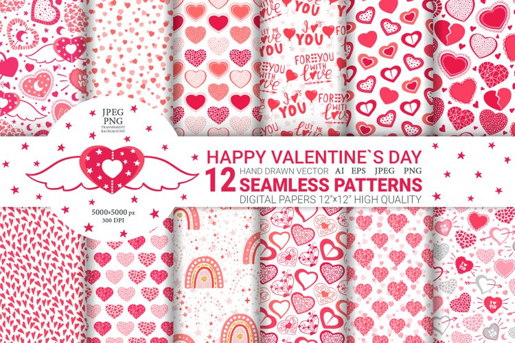 Valentines Day. Valentine Seamless Patterns. Digital papers
