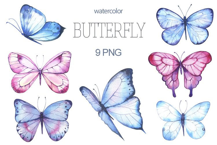 Butterfly Watercolor Clipart PNG example image 1