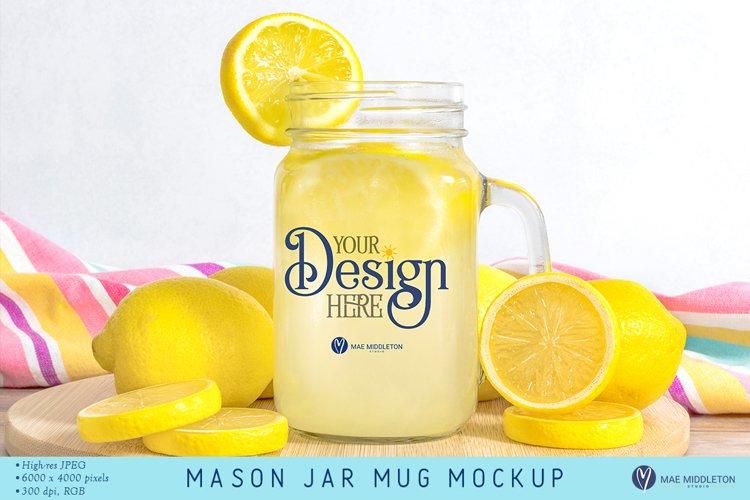 Mason Jar Mug with Lemons | Summer Mock up, styled photo