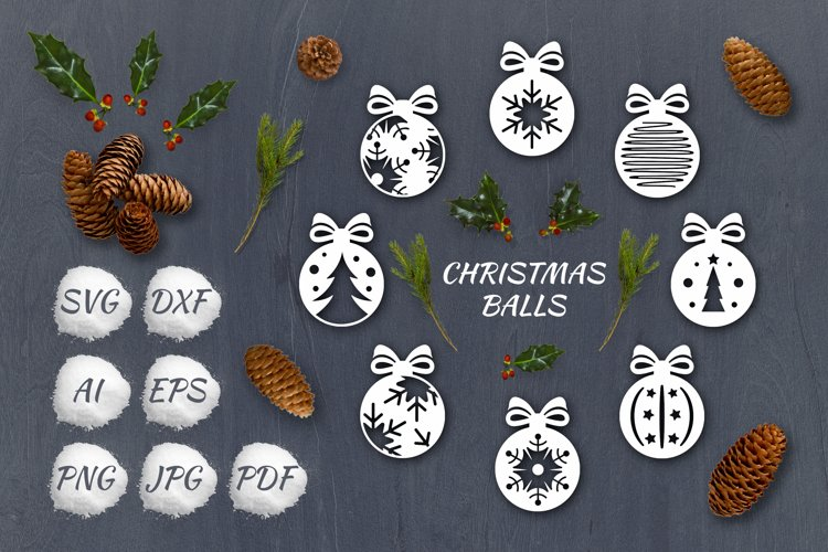 SVG Set of Christmas decoration Balls|Laser Cutting |Cricut example image 1
