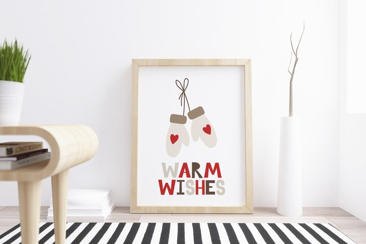 Printable christmas card with mittens and lettering