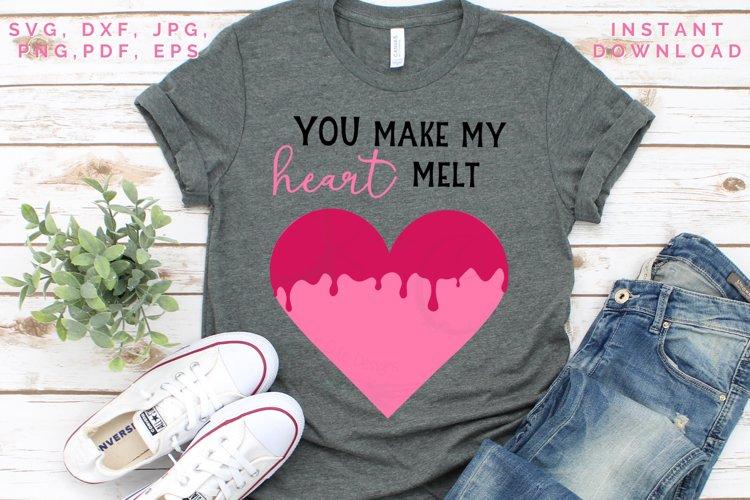 Heart Melt SVG, Valentine's cut file, Love svg example image 1