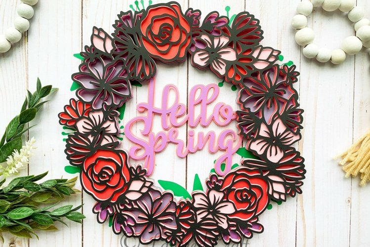 3D Layered Hello Spring Floral Wreath- Digital File