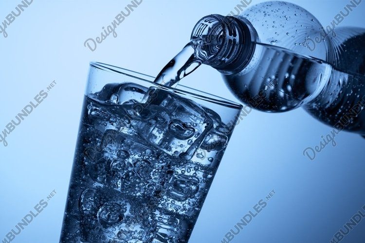 Plastic bottle and a glass with ice example image 1