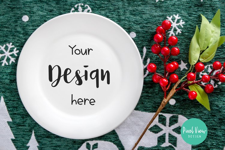 White Plate Mock-up   Christmas example image 1