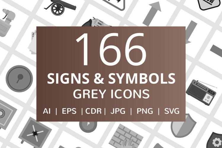 166 Signs & Symbols Flat Greyscale Icons example image 1