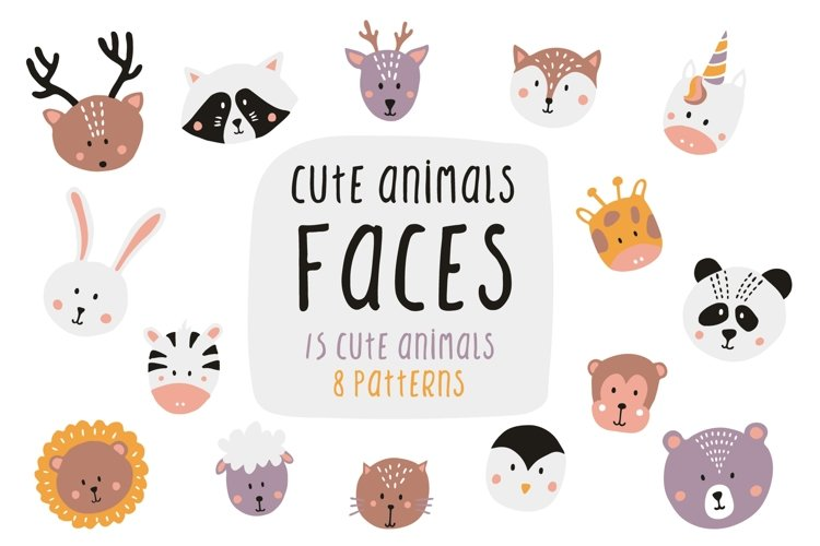 Cute animals faces illustrations and patterns