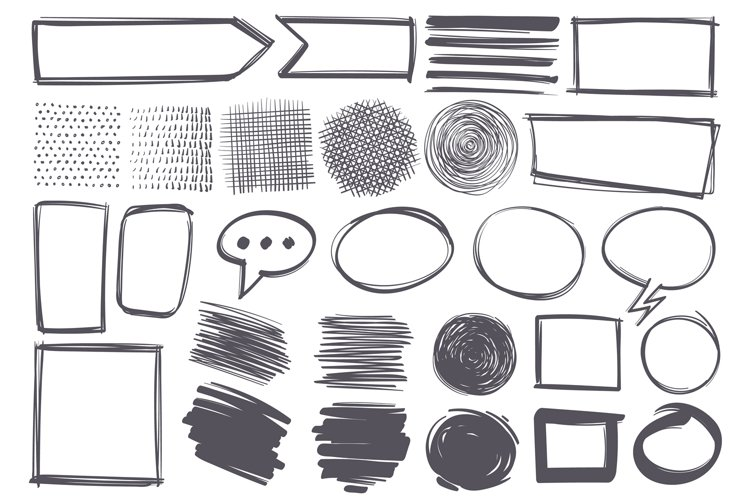 Doodle shapes. Pencil sketch textures and arrows, speech bub example image 1