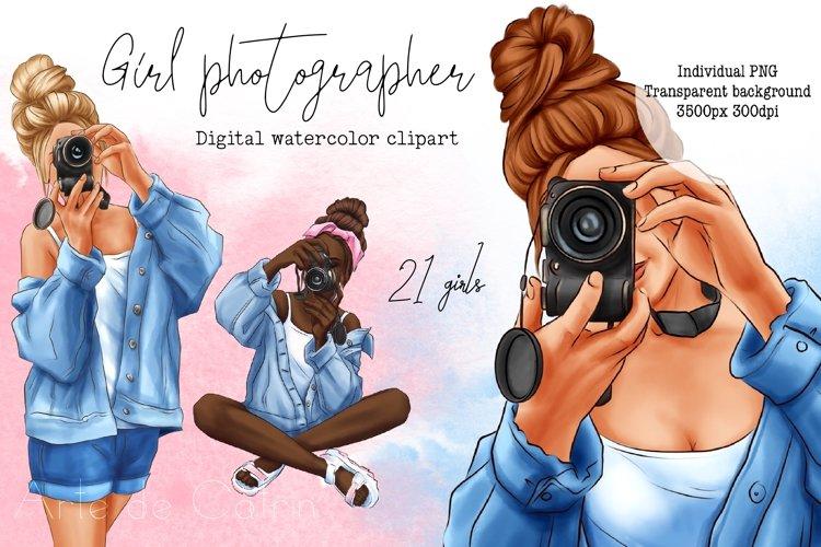 Girl Photographer clipart, Denim Girl clipart, Female, Woman