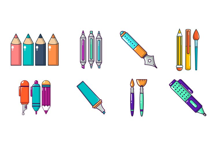 Pens icon set, cartoon style example image 1
