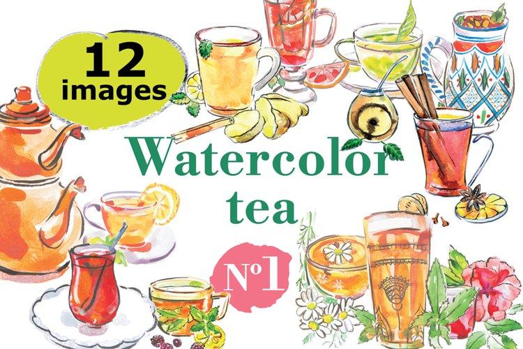 Watercolor tea vector set example image 1
