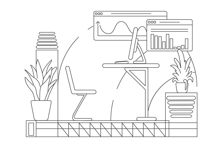 Business analyst office desk outline vector illustration example image 1