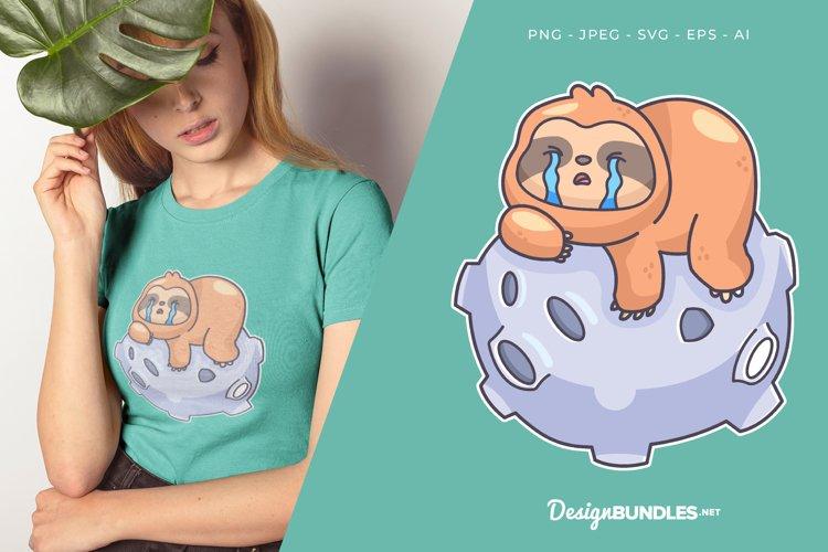 Sloth Stucks On The Moon Vector Illustration For T-Shirt