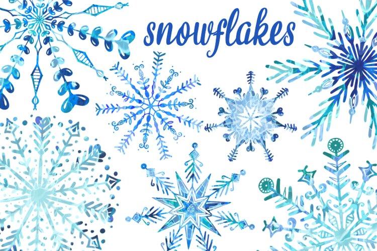 Winter Wonderland Watercolour Christmas Snowflakes example image 1