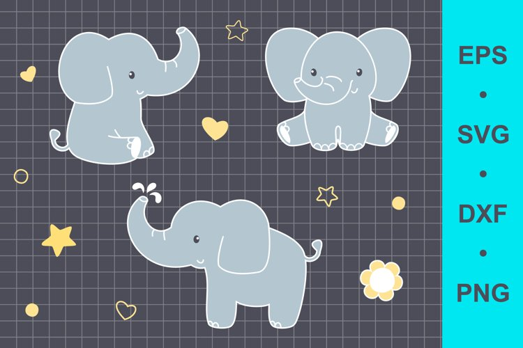 Baby elephant clip art example image 1