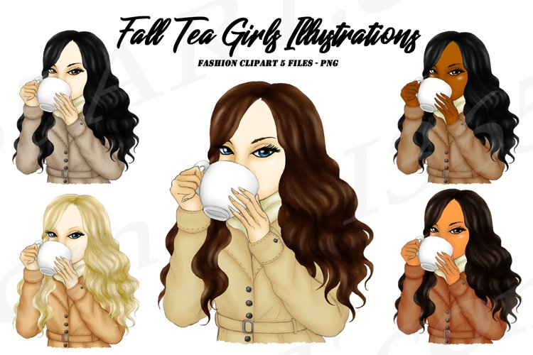 Fall Girl Clipart Autumn Tea Sipping Girls Clipart PNG example image 1